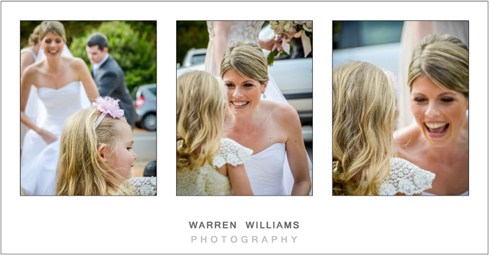 bride and flower girl lighthearted moment