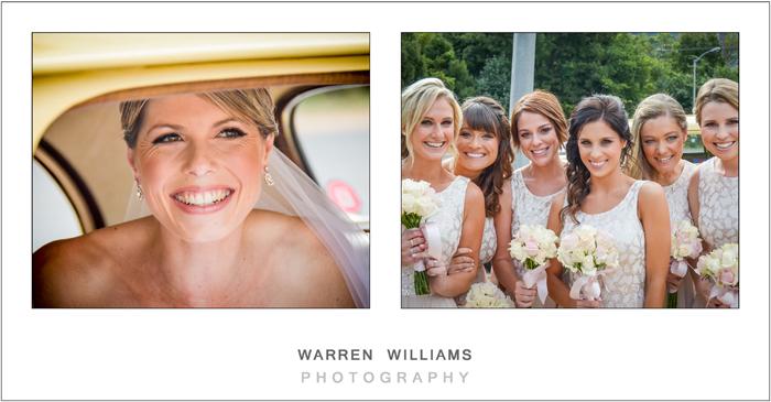 bridesmaids and bride at wedding car