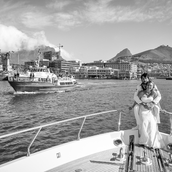 Luxury boat wedding at sea