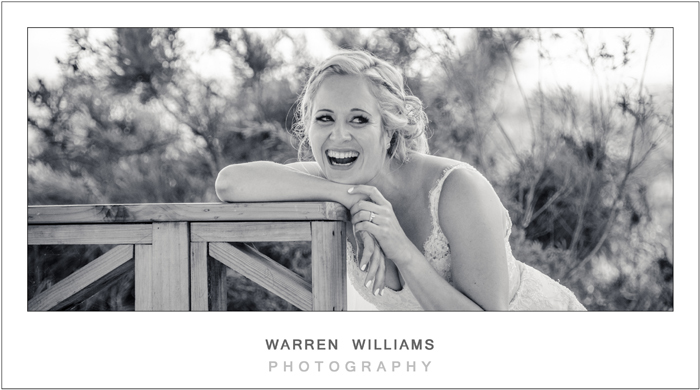 Neil and Corinne, Old Mac Daddy, laughing bride, Warren Williams Photography